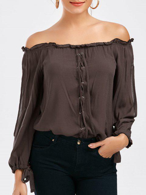 30f1f2debe87 LIMITED OFFER  2019 Off The Shoulder Lace-up Split Sleeve Top In ...