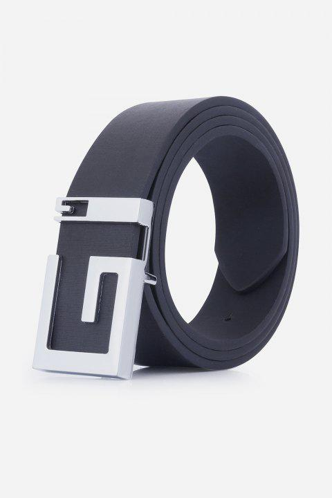 Stylish Letter G Shape Buckle Men's Casual PU Belt - BLACK