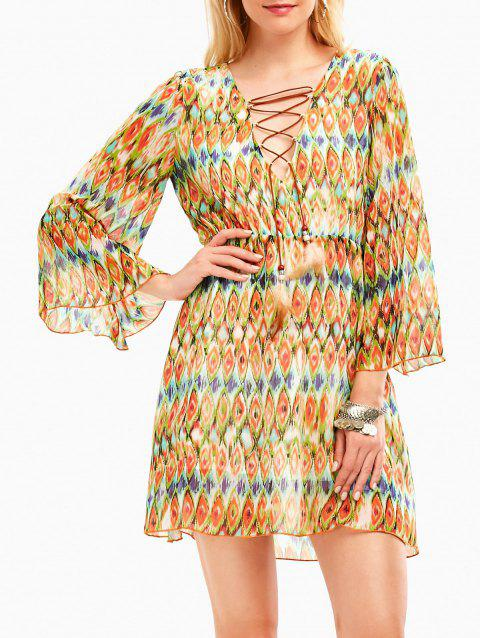 Plunging Neckline Snake Print Chiffon Bohemian Dress - LIGHT YELLOW L
