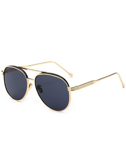 135a7d24c41 41% OFF  2018 Metallic Double Crossbar Anti UV Pilot Sunglasses In ...