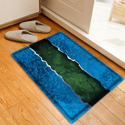Color Block Bathroom Flannel Floor Mat - Bleu W20 INCH * L31.5 INCH