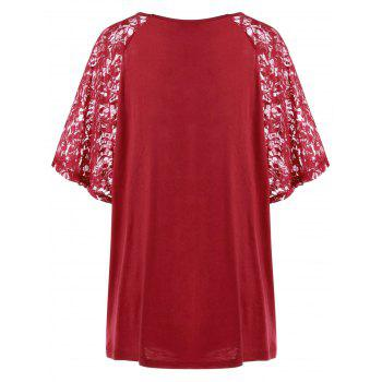 Long Plus Size Lace Sleeve Flowy Top