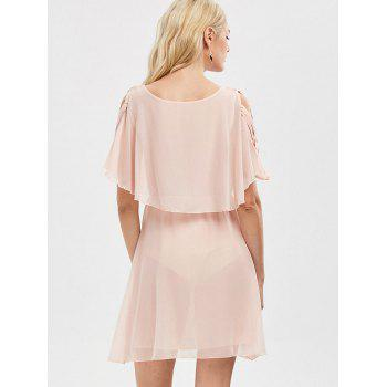 Ruffle Overlay Strappy Chiffon Cold Shoulder Dress - SHALLOW PINK 2XL