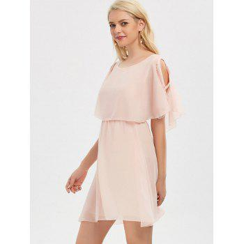 Ruffle Overlay Strappy Chiffon Cold Shoulder Dress - SHALLOW PINK L