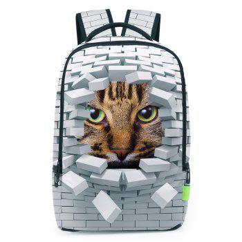 3D Broken Wall Cat Print Backpack