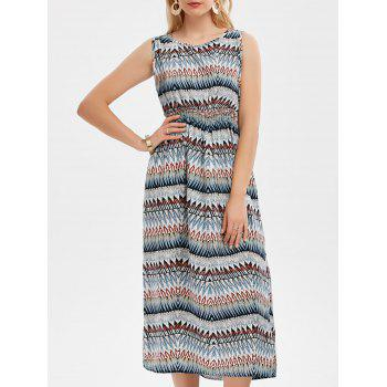High Waisted Zig Zag Midi Dress