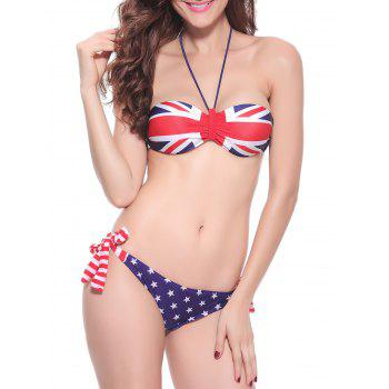 England Flag Push Up Bandeau Bikini Set
