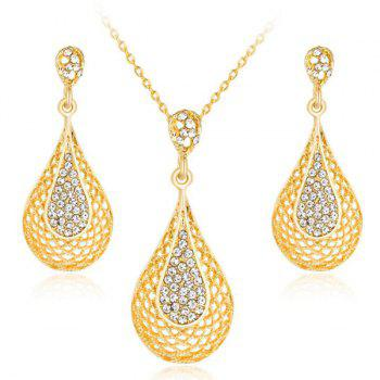 Gold Plated Rhinestone Water Drop Jewelry Set
