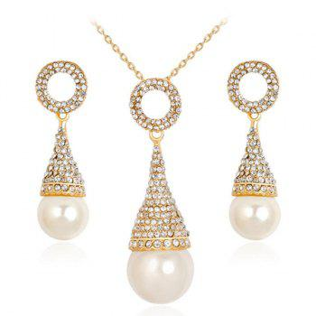 Pyramid Rhinestoned Faux Pearl Jewelry Set