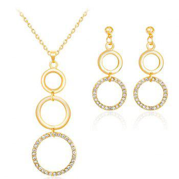 Circles Rhinestone Gold Plated Jewelry Set