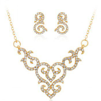 Rhinestoned Gold Plated Jewelry Set