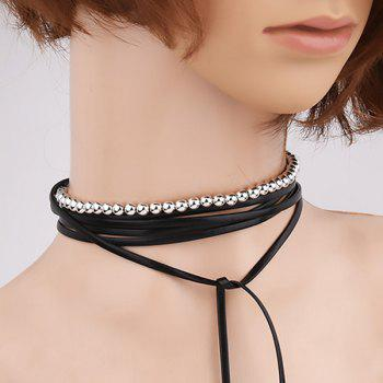 Faux Leather Beads Wrap Necklace