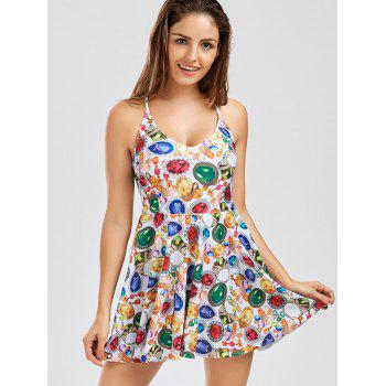 Criss Cross Backless Skirted Print Swimsuit - Floral M