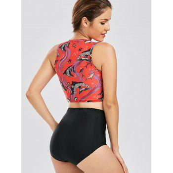Ensemble Tankini à cravate haute taille - Rouge XL