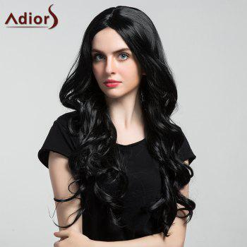 Adidas Long Center Part Thick Shaggy Wavy Synthetic Wig - Noir