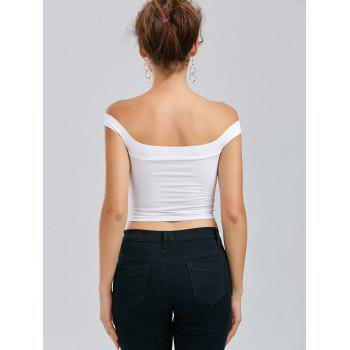 Off The Shoulder Backless Crop Top - WHITE WHITE