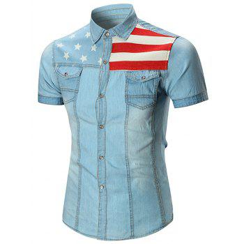 Star and Stripe Printed Pocket Denim Shirt