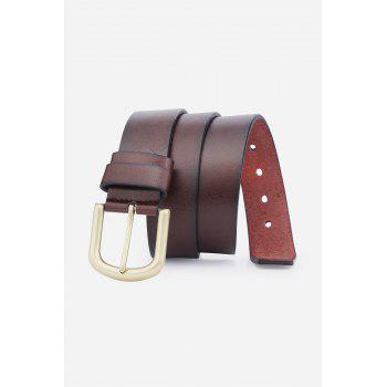 Faux Leather Rectangular Metal Pin Buckle Belt