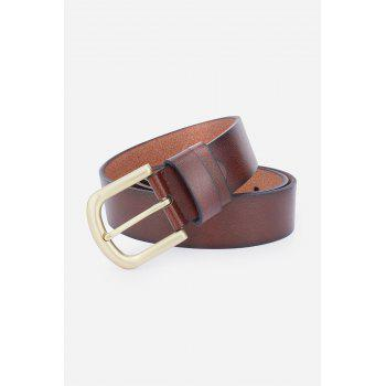 Faux Leather Rectangular Metal Pin Buckle Belt - BROWN