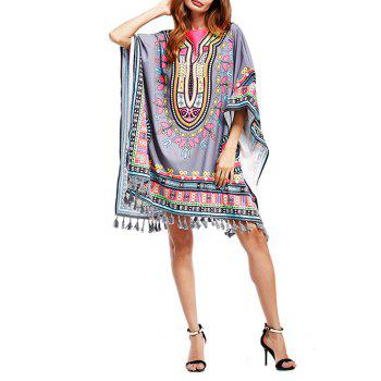 Batwing Sleeve Dashiki Print Poncho Tunic Dress
