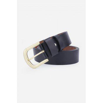 Faux Leather Rectangular Metal Pin Buckle Belt -  BLACK