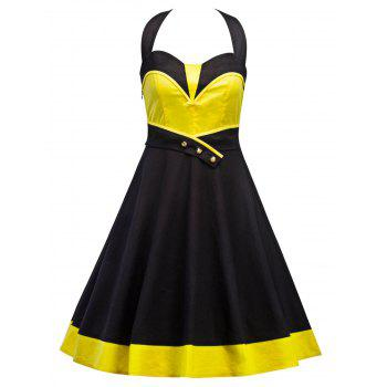 Vintage Halter Contrast Panel Dress