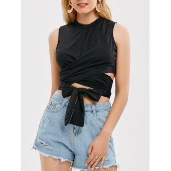 Sleeveless Strap Wrap Crop Top - BLACK XL