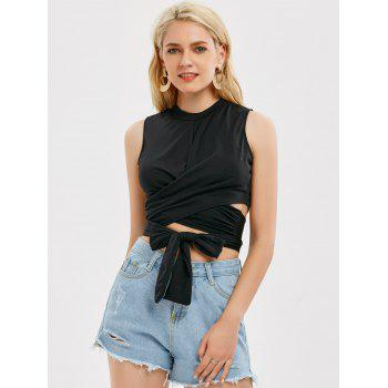 Sleeveless Strap Wrap Crop Top - XL XL