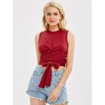 Sleeveless Strap Wrap Crop Top - RED RED