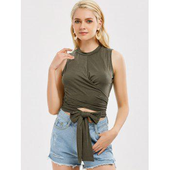 Sleeveless Strap Wrap Crop Top - S S