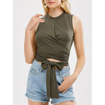 Sleeveless Strap Wrap Crop Top - ARMY GREEN L