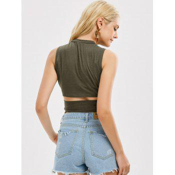 Sleeveless Strap Wrap Crop Top - ARMY GREEN ARMY GREEN