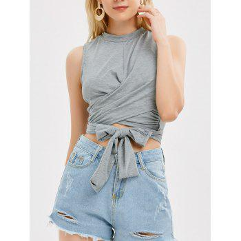 Sleeveless Strap Wrap Crop Top - GRAY M