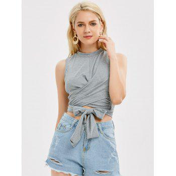 Sleeveless Strap Wrap Crop Top - M M