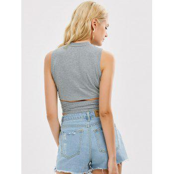 Sleeveless Strap Wrap Crop Top - GRAY GRAY