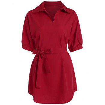 Plus Size V Neck Work Shirt with Belt