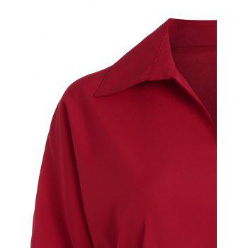 Plus Size V Neck Work Shirt with Belt - RED 5XL