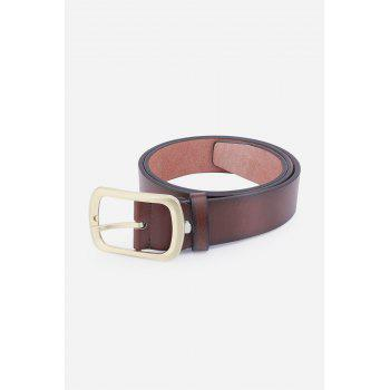 Retro Faux Leather Rectangular Pin Buckle Belt -  BROWN
