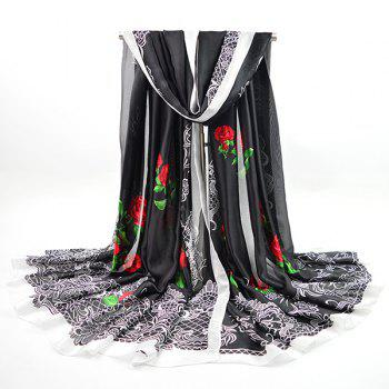 Retro Floral Printing Imitation Silk Smooth Scarf
