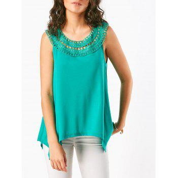 Irregular Crochet Lace Insert Sleeveless T-Shirt