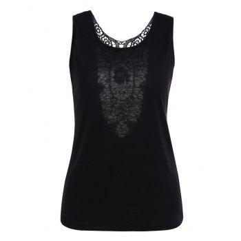 Backless Openwork Lace Insert Tank Top