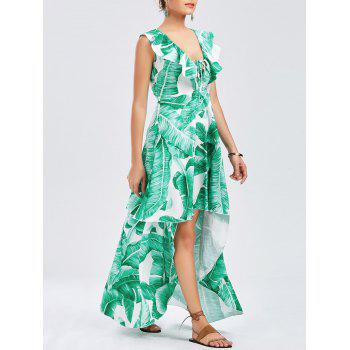 Tropical Print Ruffle High Low Dress