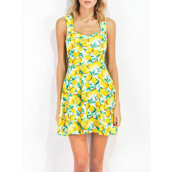 Sweetheart Collar Lemon Print Sun Dress