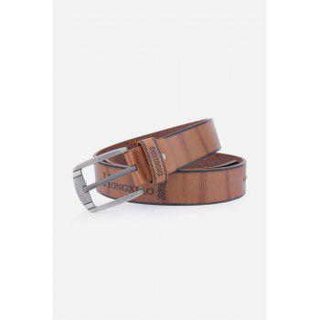 Pin Buckle Fake Leather Embroidered Holes Belt - BROWN