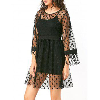 Sheer High Waist Polka Dot Lace Dress