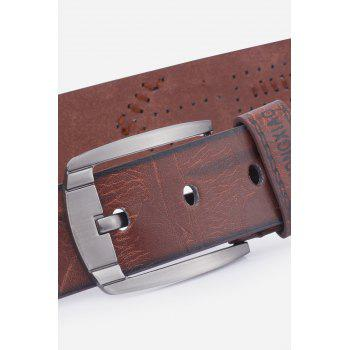 Pin Buckle Fake Leather Embroidered Holes Belt - COFFEE