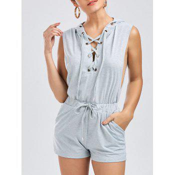 Drawstring Hooded Lace Up Romper