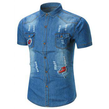 Distressed Applique Denim Pocket Shirt