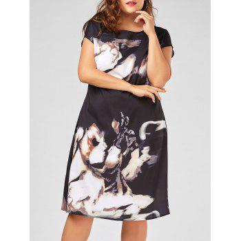 Plus Size Printed Midi A Line Dress