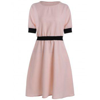 Plus Size Contrast Elastic Waist Fit and Flare Dress
